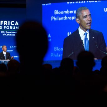 President Barack Obama delivers remarks at the U.S.-Africa Business Forum held at the Mandarin Oriental Hotel during the U.S. Africa Leaders Summit in Washington, D.C., Aug. 5, 2014. (Official White House Photo by Lawrence Jackson)