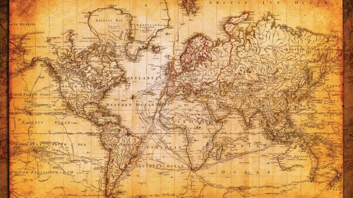 world map antique vintage old style